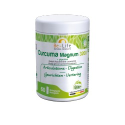Curcuma MAGNUM 3200 + piperine (poivre) bio (6à gélules) BE LIFE