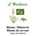 Rhume, Rhinorrée,  Rhume du cerveau Tisane de 6 plantes 100 gr